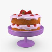 Cake with Strawberries 3d model