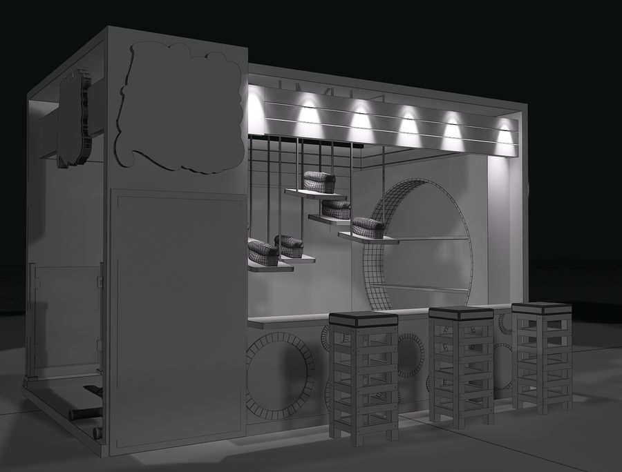 Booth Exhibition Stand a103 royalty-free 3d model - Preview no. 2