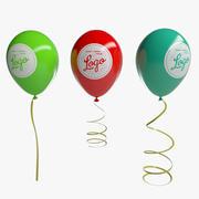 Ballonnen Met Linten 3d model