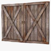 Houten plank garage schuur getextureerde deur buiten buitenscherm platteland deur entree rommel puin vintage kelder hek ondergrondse mijn landelijk gebied land fantasie deuropening entry 3d model