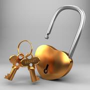 Golden Lock and Key 3d model