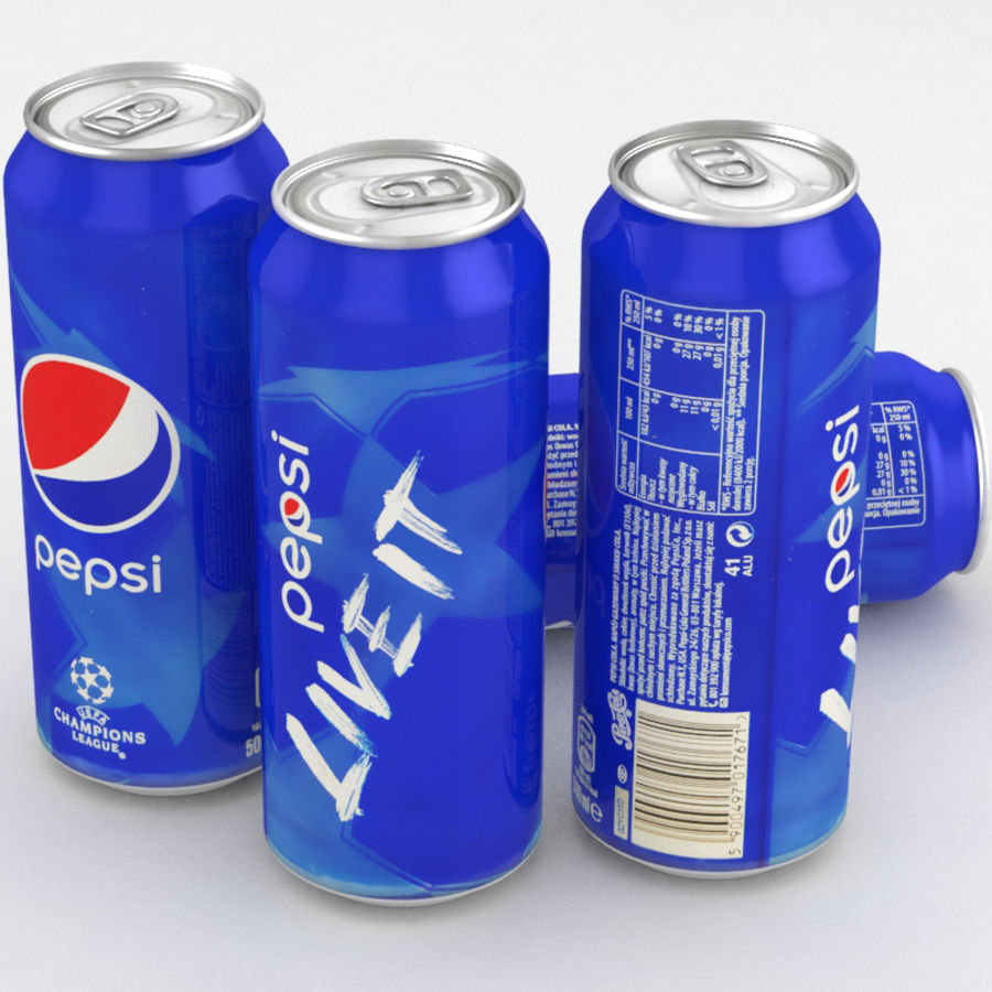Beverage Can Pepsi Champions League 500ml royalty-free 3d model - Preview no. 1