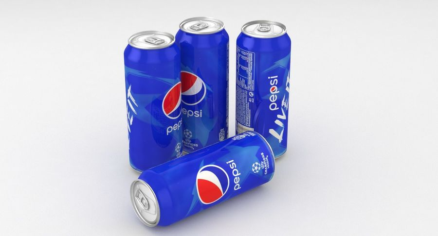 Beverage Can Pepsi Champions League 500ml royalty-free 3d model - Preview no. 7