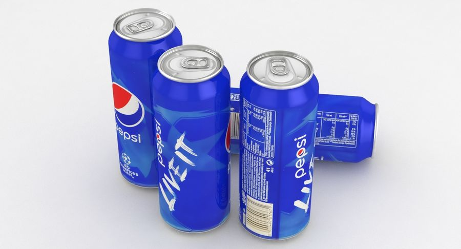 Beverage Can Pepsi Champions League 500ml royalty-free 3d model - Preview no. 5