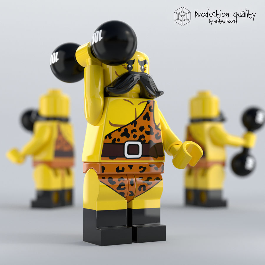 Lego Circus Strong Man royalty-free 3d model - Preview no. 1
