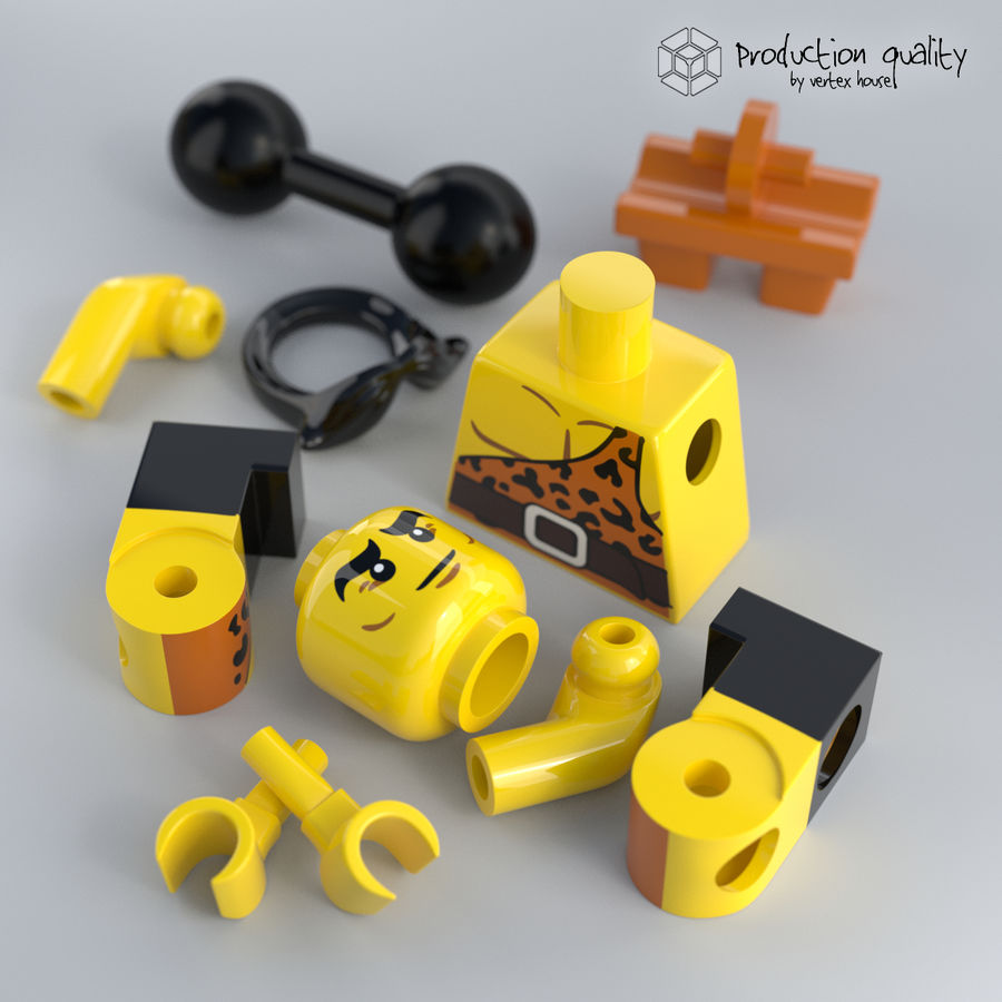 Lego Circus Strong Man royalty-free 3d model - Preview no. 4