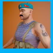 Soldier USSR paratrooper 3d model