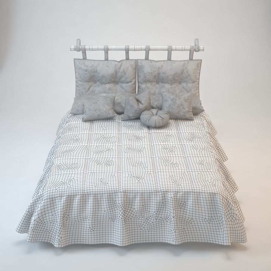 Bed With Pillows royalty-free 3d model - Preview no. 3