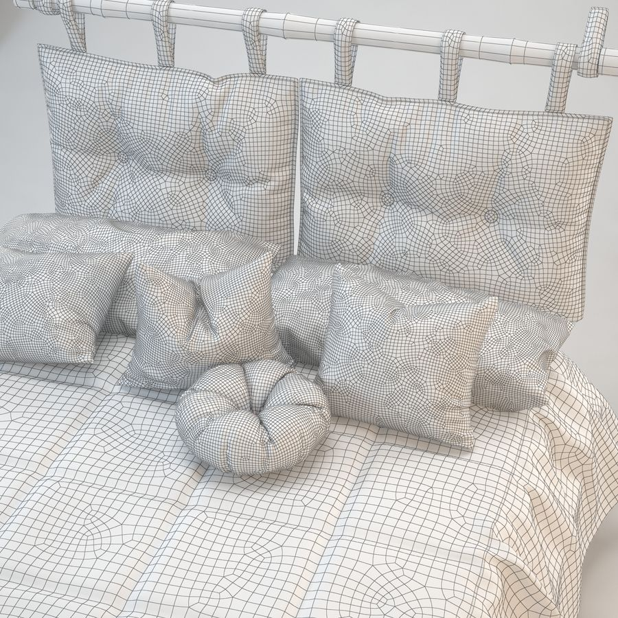 Bed With Pillows royalty-free 3d model - Preview no. 8