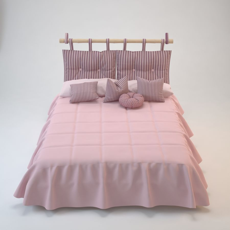 Bed With Pillows royalty-free 3d model - Preview no. 2