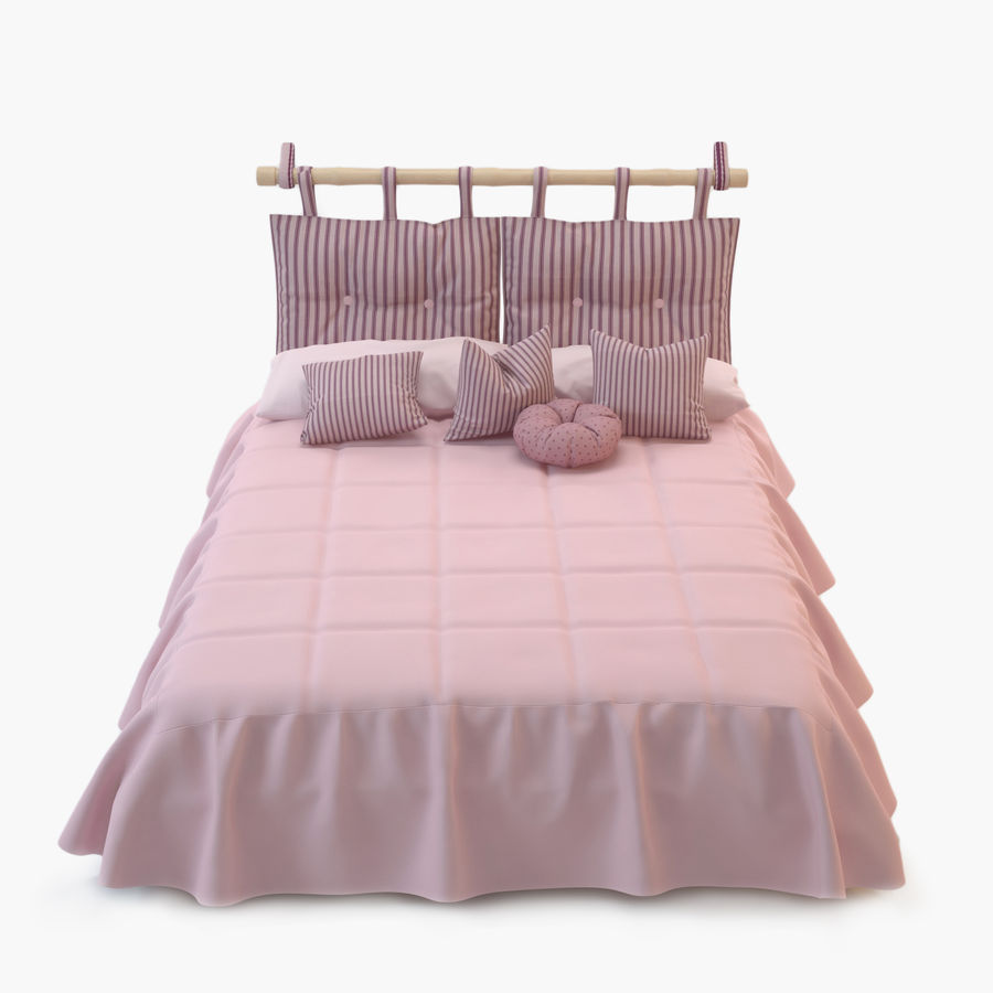 Bed With Pillows royalty-free 3d model - Preview no. 1