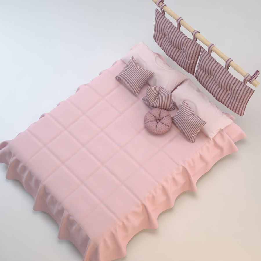 Bed With Pillows royalty-free 3d model - Preview no. 6