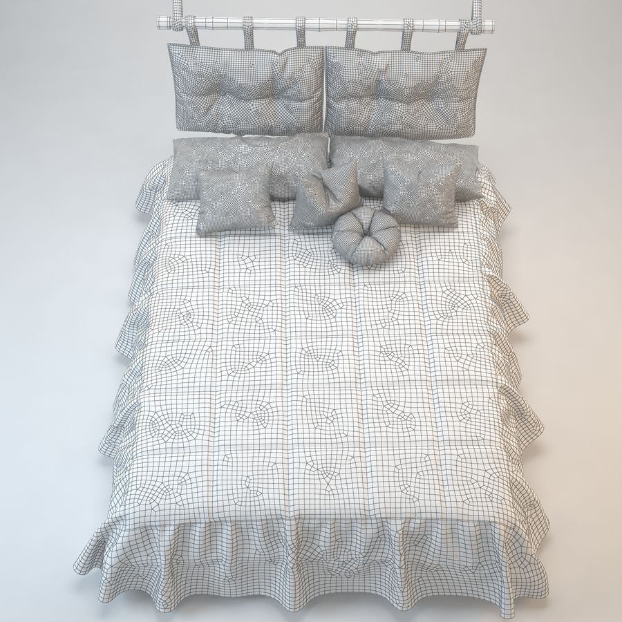 Bed With Pillows royalty-free 3d model - Preview no. 9