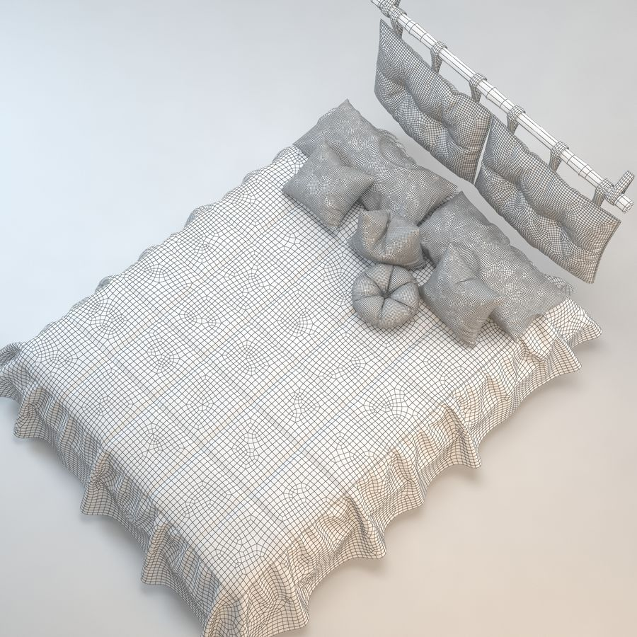 Bed With Pillows royalty-free 3d model - Preview no. 10