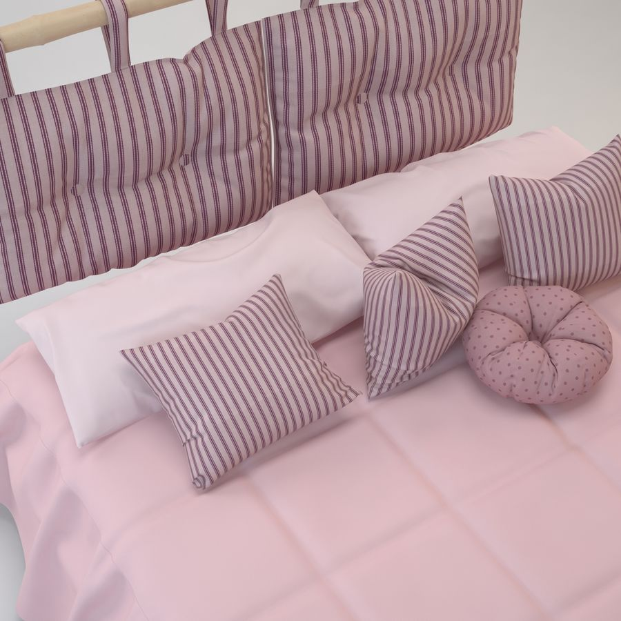 Bed With Pillows royalty-free 3d model - Preview no. 4