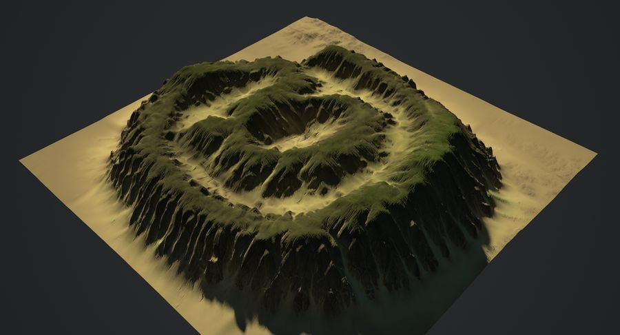 At Sign Symbol Terrain royalty-free 3d model - Preview no. 6