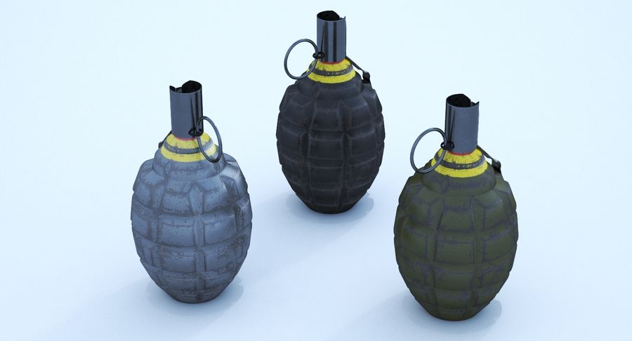 Three Grenades royalty-free 3d model - Preview no. 4