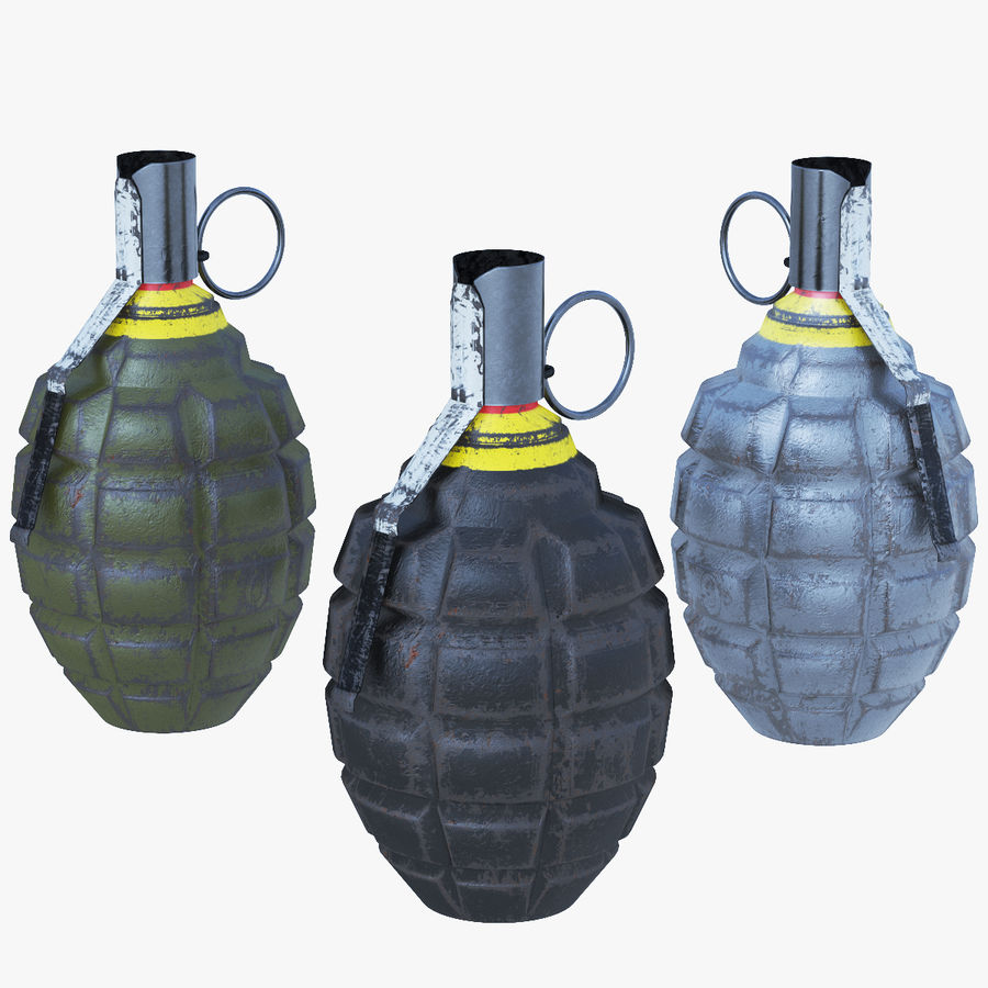 Three Grenades royalty-free 3d model - Preview no. 1