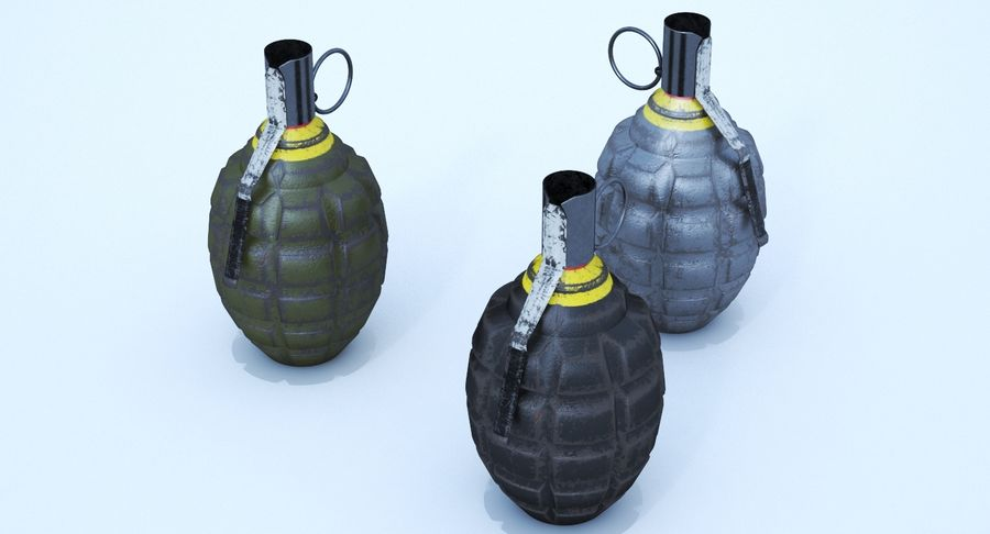 Three Grenades royalty-free 3d model - Preview no. 8