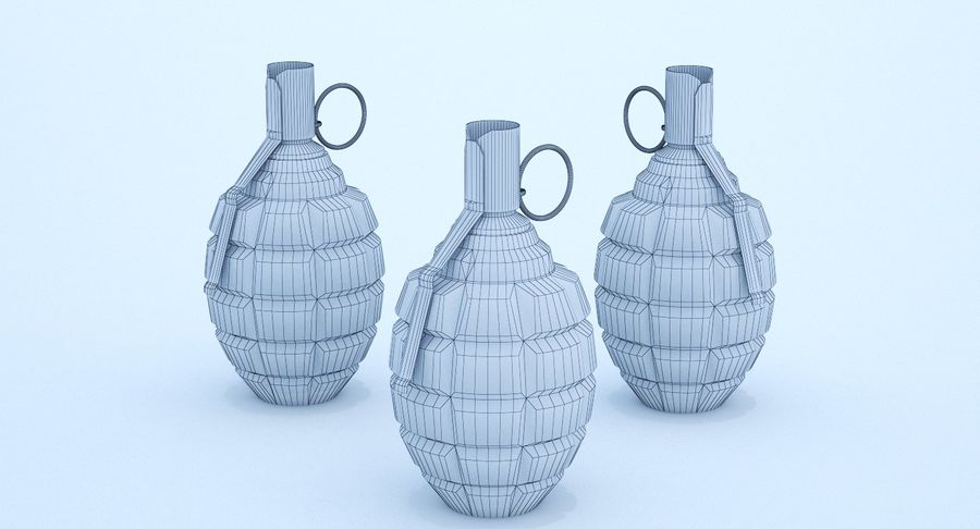 Three Grenades royalty-free 3d model - Preview no. 9
