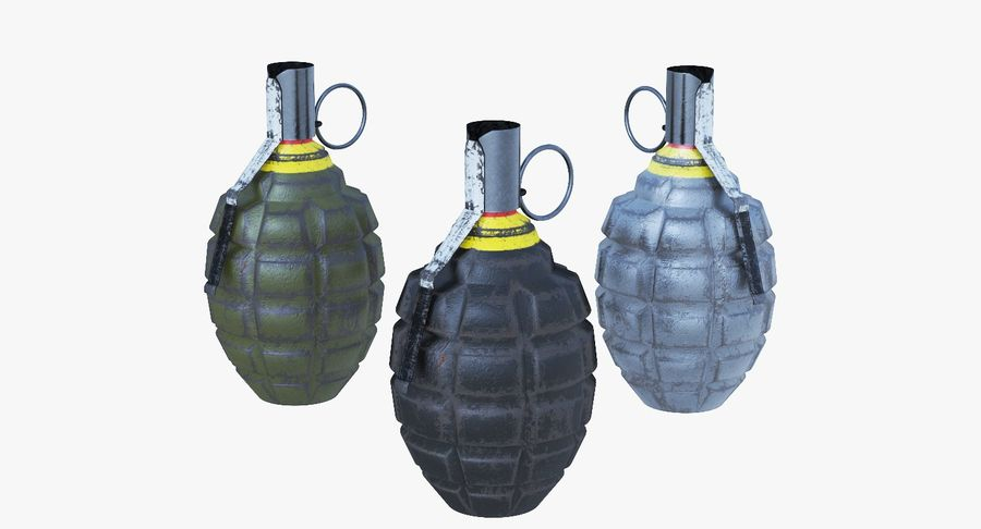 Three Grenades royalty-free 3d model - Preview no. 2