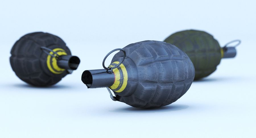 Three Grenades royalty-free 3d model - Preview no. 6