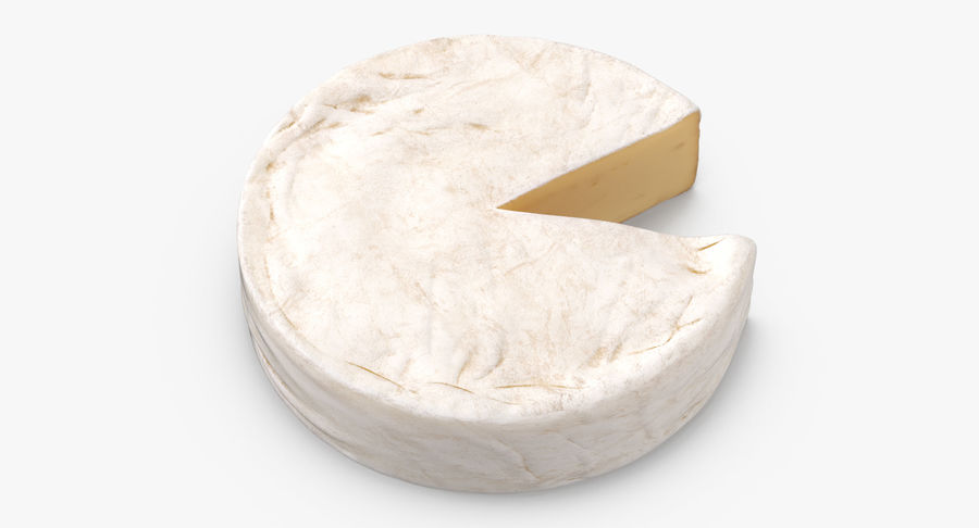 Brie Cheese Wheel Cut royalty-free 3d model - Preview no. 7
