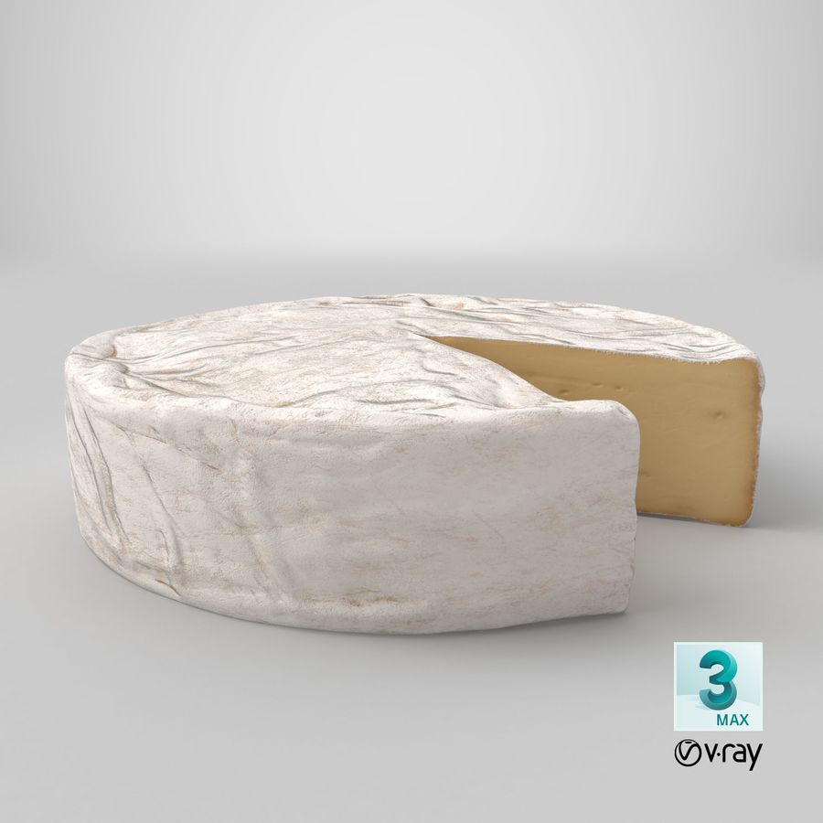 Brie Cheese Wheel Cut royalty-free 3d model - Preview no. 21