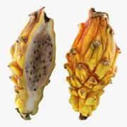 Dragonfruit Giallo Intero E Metà 3d model
