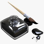Calligraphy Brush With India Ink Bottle 3d model