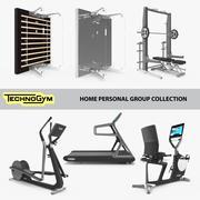 Technogym da coleção da academia, grupo de linhas pessoais domésticas, conjunto de fitness, 7 unidades 3d model