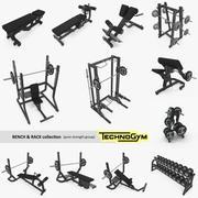 Coleção Bench, Rack & Barbell Technogym, conjunto completo 12 modelos de academia 3d model