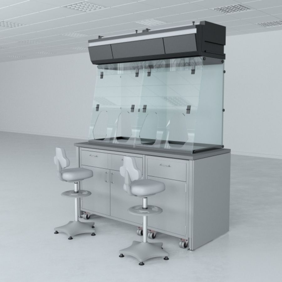 Lab Furniture ( Biosafety Cabinet ) royalty-free 3d model - Preview no. 3