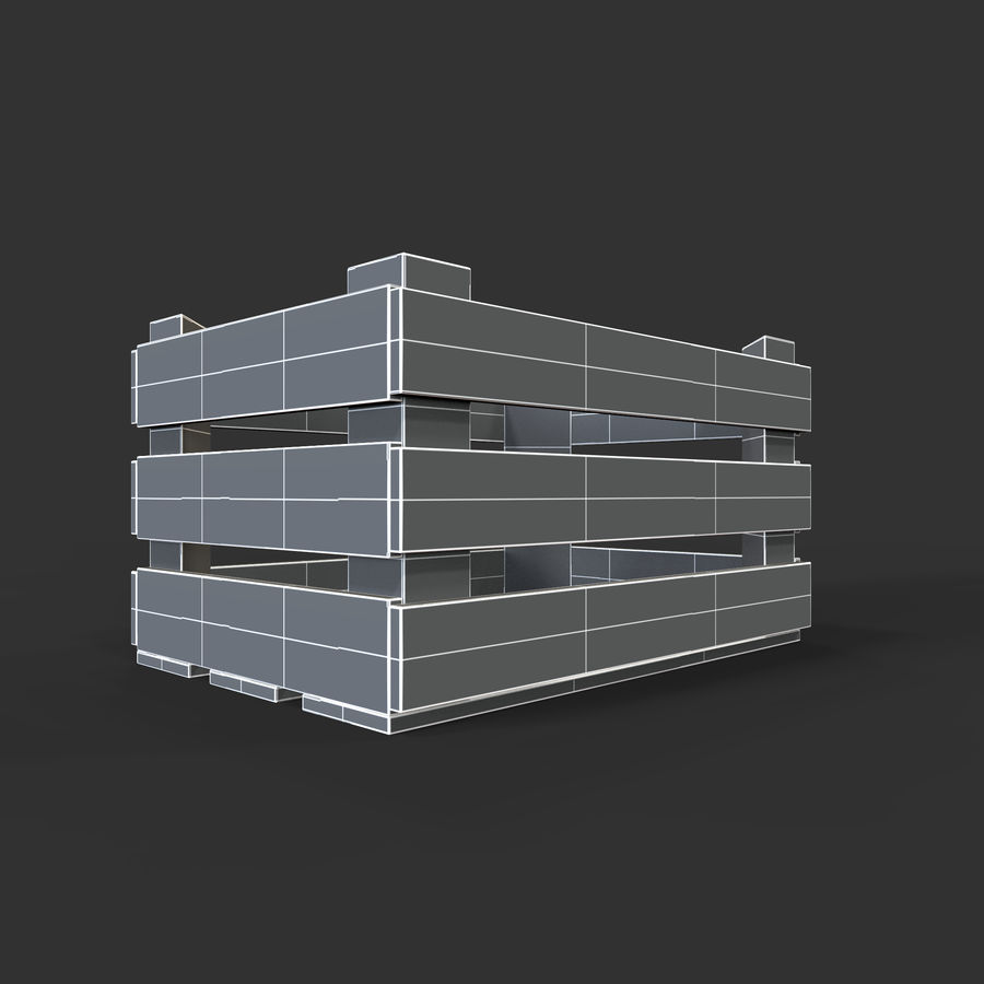 Obstkiste aus Holz royalty-free 3d model - Preview no. 29