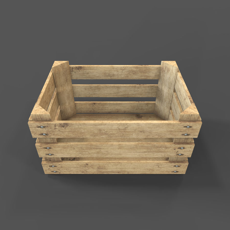 Obstkiste aus Holz royalty-free 3d model - Preview no. 15