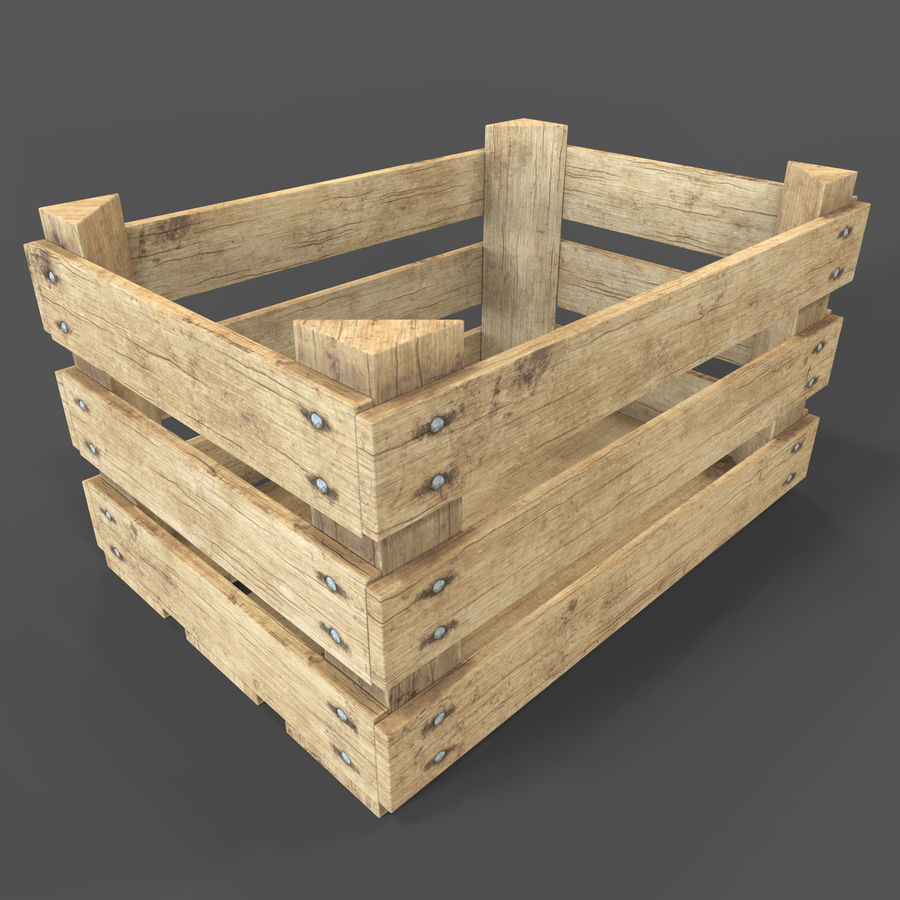 Obstkiste aus Holz royalty-free 3d model - Preview no. 2