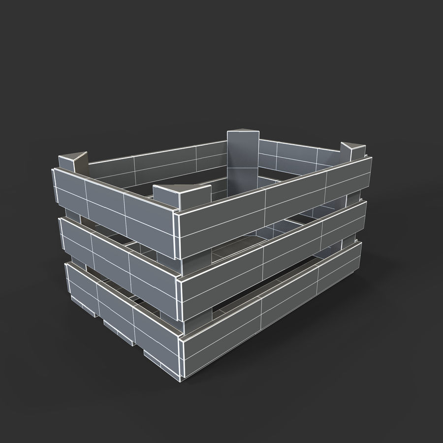 Obstkiste aus Holz royalty-free 3d model - Preview no. 30