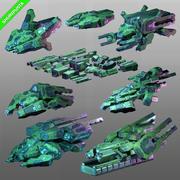 Spaceships Sci-Fi Kit-bash-pakket 3d model