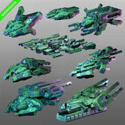 Spaceships Sci-Fi Kit-bash Pack 3d model