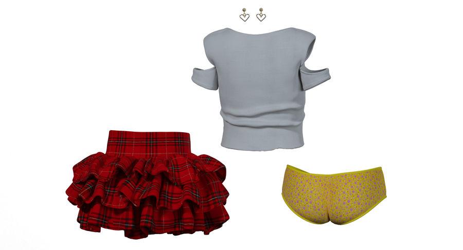 Spódnica i koszulka T-shirt royalty-free 3d model - Preview no. 4