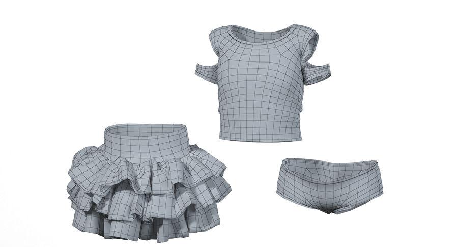 Spódnica i koszulka T-shirt royalty-free 3d model - Preview no. 7
