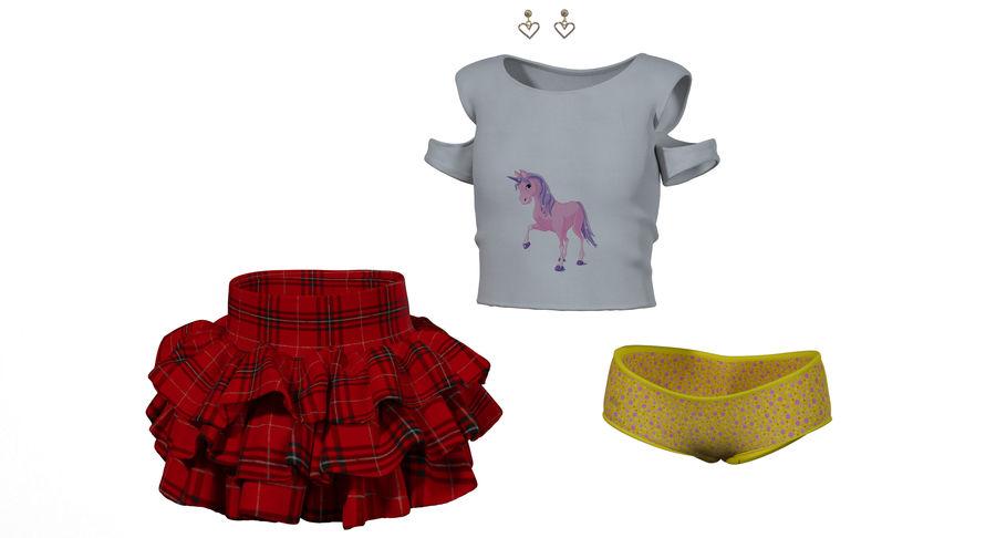 Spódnica i koszulka T-shirt royalty-free 3d model - Preview no. 5