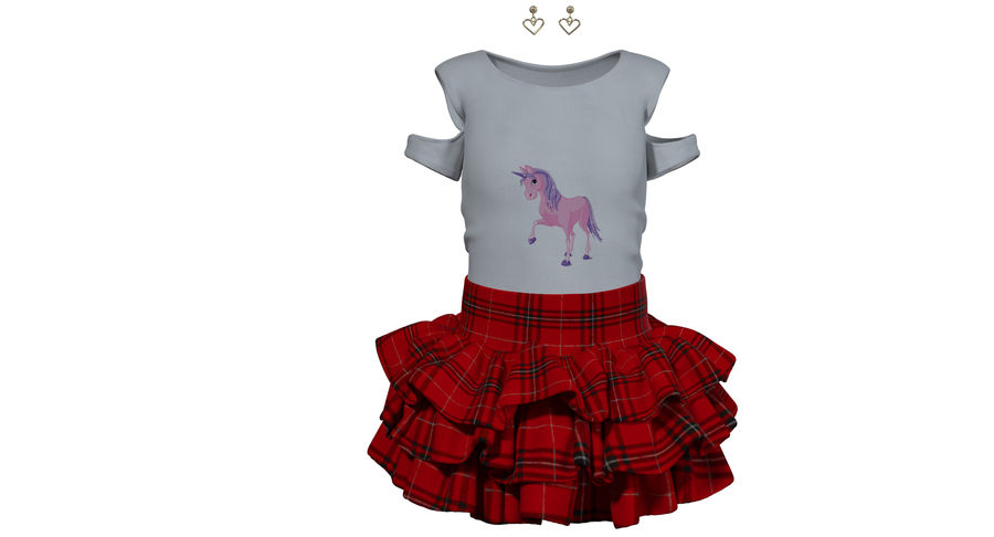 Spódnica i koszulka T-shirt royalty-free 3d model - Preview no. 1