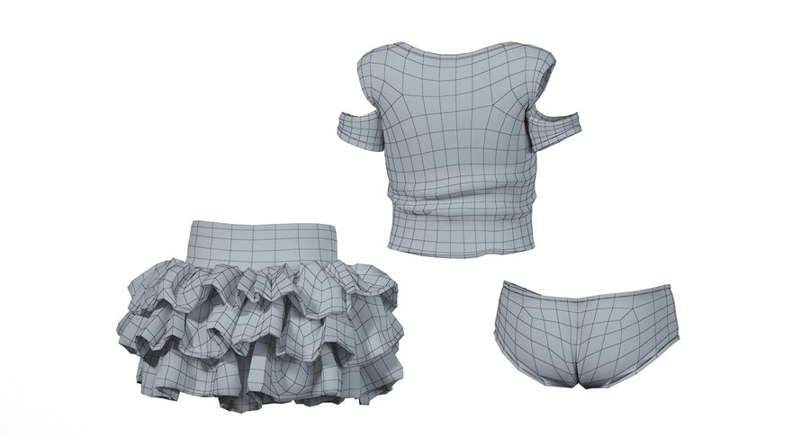 Spódnica i koszulka T-shirt royalty-free 3d model - Preview no. 8