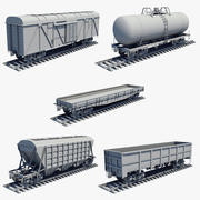 Cargo Wagons Set Untextured 3d model