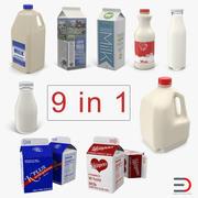 Collezione di bottiglie di latte 3d model