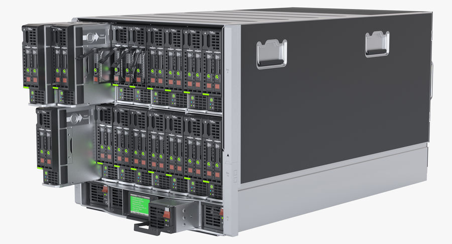 Blade Server Computer royalty-free 3d model - Preview no. 7