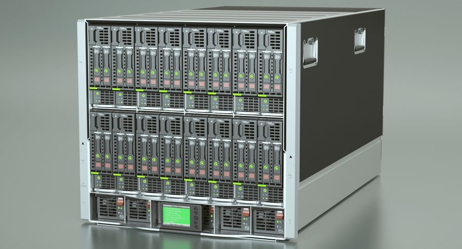 Blade Server Computer royalty-free 3d model - Preview no. 3