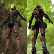 Soldat féminin de science-fiction - Pack de démarrage 3d model