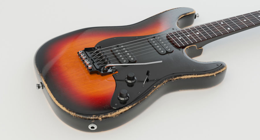 Fender Contemporary Stratocaster Relic royalty-free modelo 3d - Preview no. 20